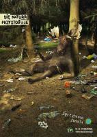Пьяный лось в замусоренном лесу