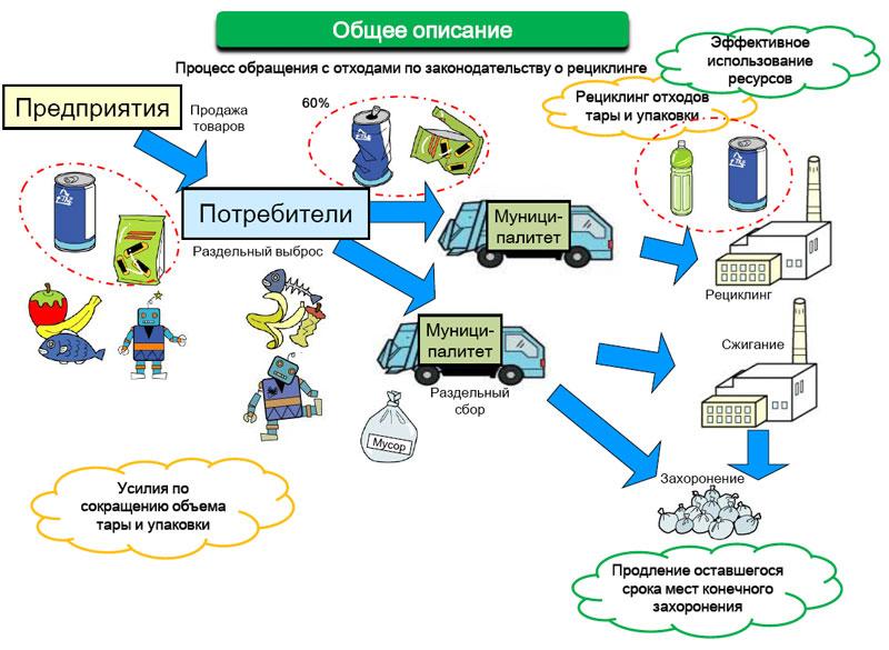 Процесс обращения с отходами в Японии по законодательству о рециклинге